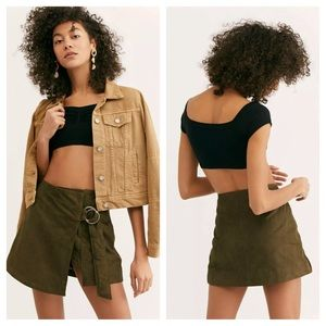 Free People Understated Charley Suede Wrap Skirt